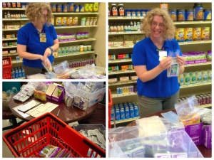 Lisa prepares sample bags for an upcoming Wellness Wednesday, when we thank YOU for taking us to your hearts.